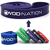 WOD Nation Pull up Assistance Bands Best for Pullup Assist, Chin Ups, Resistance Band Exercise, Stretch, Mobility Work & Serious Fitness - Single Band 41 inch Straps| 1 Purple Band