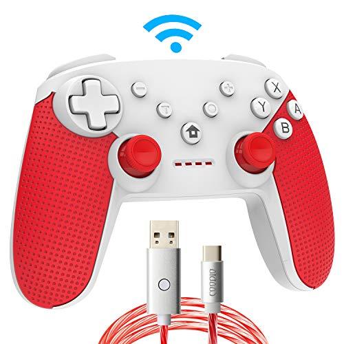 COODIO Pro Controller Per Nintendo Switch, Wireless Switch Pro Controller Gamepad Joystick + Cavo Type-C LED Illuminazione Per Nintendo Switch, Rosso