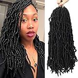 Nu Locs Crochet Braids 18inch Most Natural Faux Locs Crochet Braid 6 Packs/lot Goddess 100% Premium Fiber Synthetic Hair African Roots Hair Extensions (18'' 6Pcs-1B#)
