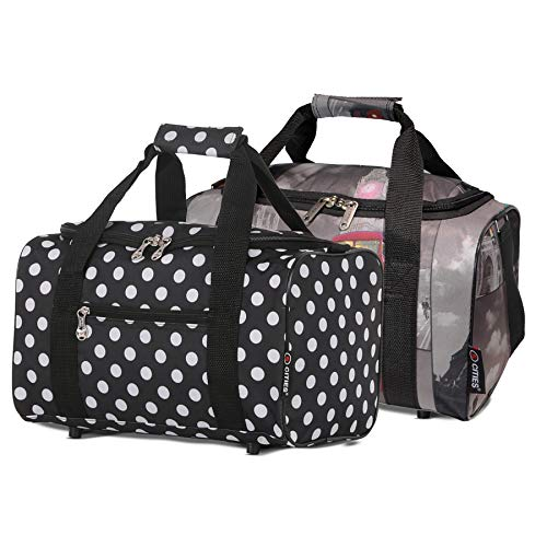 5 Cities 40x20x25 New and Improved 2021 Ryanair Maximum Sized Under Seat Cabin Holdall Travel Flight Bag Take The Max on Board Black Polka Cities