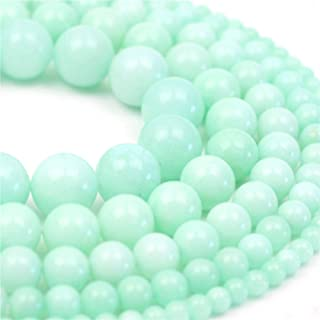 Oameusa Natural Round Smooth 4mm Amazon Chalcedony Gemstone Beads Loose Beads Agate Beads for Jewelry Making 15