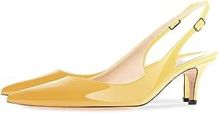 Onlymaker Women's Pointed Toe Slingback Ankle Strap Kitten Heels Stiletto Pumps