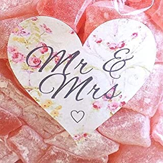 Elegant Floral Rose Love Heart Labels 72 x Pink /& Cream Mr and Mrs Wedding Stickers for Favours