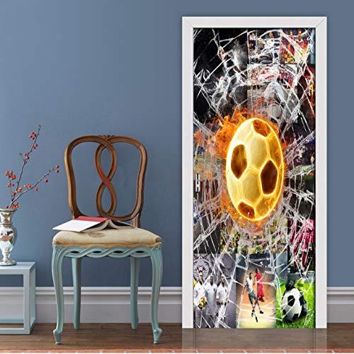 Etiqueta engomada creativa de la puerta del fútbol de la Copa del Mundo 3D para la sala de estar Dormitorio DIY PVC autoadhesivo Papel pintado impermeable 3D Mural Decals 90 * 200Cm 2 piezas / 1 juego