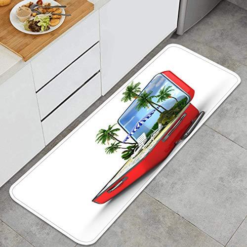 Cocina Antideslizante Alfombras de pie Concepto de Vacaciones de Equipaje Abierto Decoración de Piso Confortables para el hogar, Fregadero, lavandería-120cm x 45cm