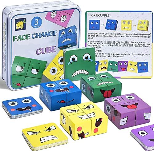 Puzzle de Madera de Expresión Facial, Montessori Juegos Kit de Rompecabezas Juguete 16 Cubos 64 Cartas IQ Puzzle Regalo Navidad, SUMAIRS Cubo Juguetes Educativos para Niños 3+ años