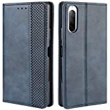 HualuBro Handyhülle für Sony Xperia 10 II Hülle, Retro Leder Stoßfest Klapphülle Schutzhülle Handytasche LederHülle Flip Hülle Cover für Sony Xperia 10 II 2020 Tasche, Blau