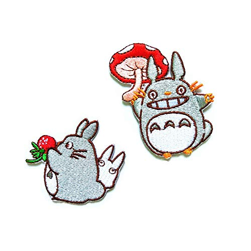 2-Pack Totoro Hayao Miyazaki Cartoon Anime Iron On Sew On Embroidered Patch for Jackets Backpacks Jeans and Clothes Badge Applique Emblem Sign Sport Decal