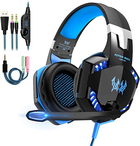 Gaming Headset, Headset für PS4 PC Xbox One, OCDAY Gaming Kopfhörer 3.5mm Surround Sound Kabelgebundenes mit Mikrofon, LED Licht für Laptop Mac Handy Tablet (Blau)