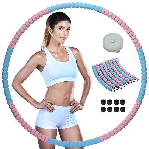 Wonantorna Hoola Hoop Reifen Erwachsene, Smart Hula Hoop für Fitness, 8 Segmente Abnehmbarer Slim Hoop Hula Hoop Reifen Geeignet Zur Sports/Gewichtsreduktion/Massage/Bauchformung - Pink+Blau