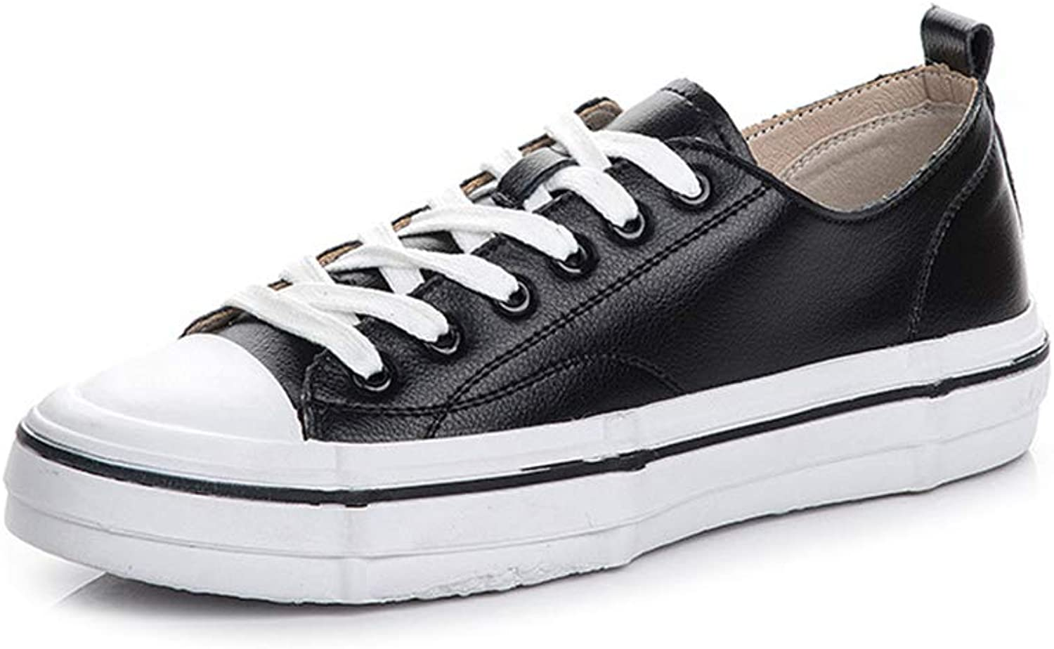 Women's shoes Classic Spring Fall Leather Sports shoes Lace Up Low-Top Casual shoes Deck shoes Fitness & Cross Training shoes,Black,38