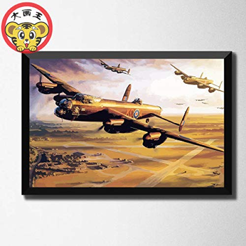 zxddzl Digitale malerei DIY handgemalte kampfflugzeug Schlacht Panzer Landschaft dekorative malerei aircraft-a005-5044 40 * 666 cm