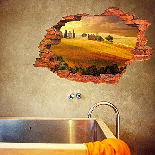 Bigood 3D Imprimé Paysage Autocollant Mural Créatif PVC Décoratif Chambre Salon Style#B