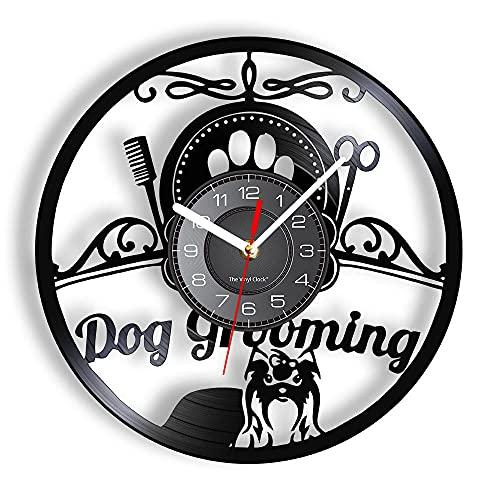 BBZZL Reloj de Pared para salón de peluquería para Perros con retroiluminación LED, Reloj de Pared para Animales de salón para Mascotas, Grabado de Vinilo, decoración Negra Colgante Vintage Sin LED