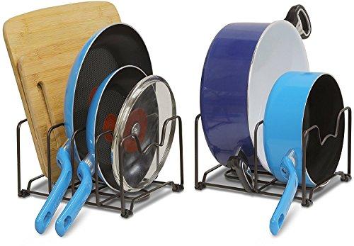 SimpleHouseware 2PK Kitchen Cabinet Pan and Pot Lid Organizer Rack Total 6 Compartments Bronze