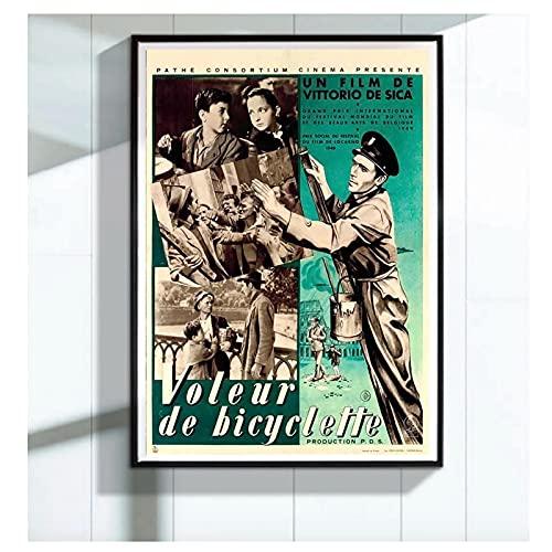 YXFAN Los ladrones de bicicletas Ladri di biciclette 1948 Película Retro Póster decorativo de película Lienzo de pared Decoración para el hogar-60x80cm Sin marco