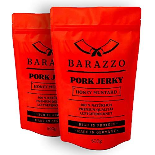 Barazzo Pork Jerky Honey Mustard| 1 kg (2x500g Maxibeutel) | 100{9f50e8019faaa1d62f3caf77a8504397459ddf9a9698e3171a3309203ba278d2} Premium Trockenfleisch Regional | Beef Jerky/Biltong