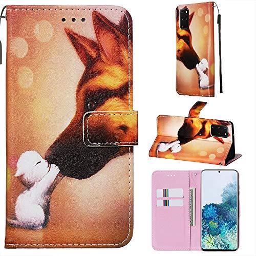 Nadoli Leder Hülle für Samsung Galaxy A41,Bunt Hund Malerei Ultra Dünne Magnetverschluss Standfunktion Handyhülle Tasche Brieftasche Etui Schutzhülle