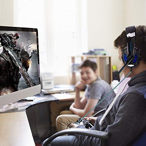 FUNINGEEK Gaming Headset für PS4 PC Xbox One, Professional Kopfhörer mit Mikrofon für Laptop/Mac/Tablet/Smartphone mit LED Licht 3.5mm Surround Sound Noise Cancelling (Blau)