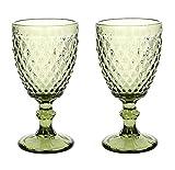 HUHUXIAOWU Copa de Vino, Copa de Cristal Coloreada, 6 oz / 10 oz, diseño Vintage en Relieve, Copa de Cristal Transparente Alta para Fiesta, Boda (Diamante/Verde/Juego de 2, 10oz)