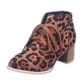 ELEEMEE Mujer Casual Botas Cordones Tobillo Botas Tacón Ancho Botas de Combate Animal Print Zapatos Oficina Botas Brown-rongli Size 39 Asian
