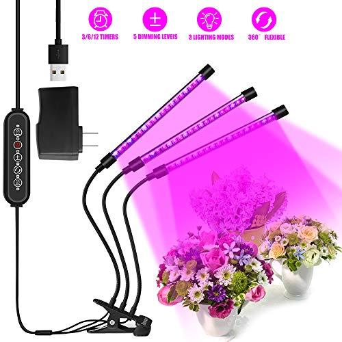 Bawoo Pflanzenlampe für Pflanzen 30 W 60 LED Wachslampe Timer 3/6/12 H Umwälzung Auto 5 Helligkeit 3 Farben 3 Modi LED Grow Light Aussaat Wachstum Blüte Frucht