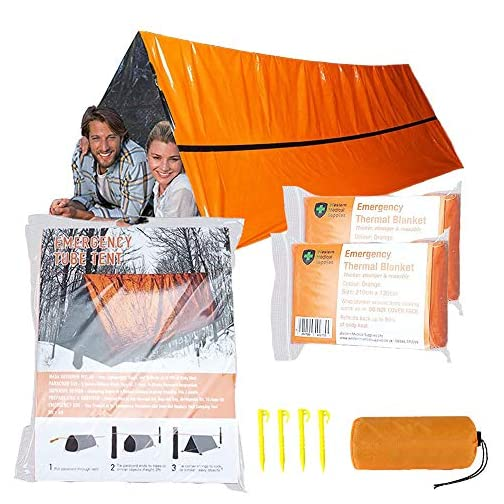 Mrsharkfit Emergency Tent with 2 Emergency Blanket – 2 Person Emergency Tent – Use As Survival Tent, Emergency Shelter… 3