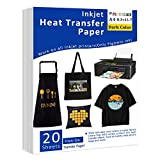 Iron-On Heat Transfer Paper for Dark Fabric 20 Pack 8.3x11.7' T-Shirt Transfer Paper for Inkjet Printer Wash Durable, Long Lasting Transfer, No Cracking