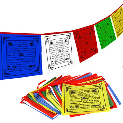 "Anley Tibet Buddhist Prayer Flag – Traditional Five Elements - Horizontal Wind Horse Design (10"" x 10"") - 25 Flags & 23 feet"