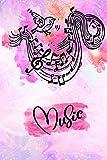 Notizbuch Musik: Blanko Journal zum Selbstgestalten, linierte Seiten, modernes Cover für Mädchen und Frauen