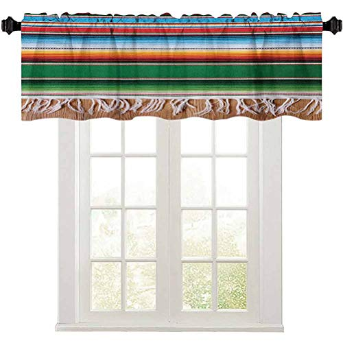 """Aishare Store Mexican Kitchen Window Valance, Boho Serape Blanket with Horizontal Stripes and Lines Authentic Cultures Picture, 1 Panel 36"""" x 18"""" Window Treatment Valance for Bathroom, Multicolor"""