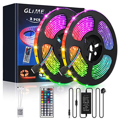 GLIME Strip Lights 10m 300 LEDs 5050 RGB LED Strip with 12V 5A Power Adapter 44 Key IR Remote Control for Christmas, Garden, Bar, Party, Home Decorations (2x5m)