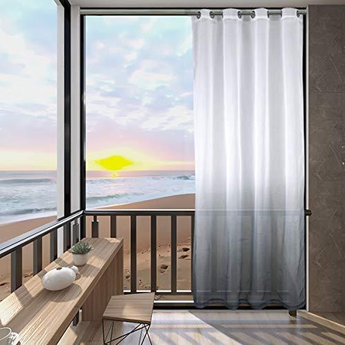 Cortinas opacas degradadas, cortinas opacas para patio, exteriores, impermeables, tratamiento de ventanas, cortinas de pérgola, juego de 2 paneles (gris, 137 x 244 cm)