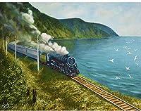 子供と大人による番号の油絵キットによるDiyペイントデジタルキットカラフルなレトロな蒸気機関車のキャンバスの壁の装飾
