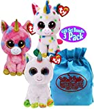 TY Beanie Boos Unicorns Harmonie, Pixy & Fantasia Gift Set Bundle with Matty's Toy Stop Storage Bag - 3 Pack