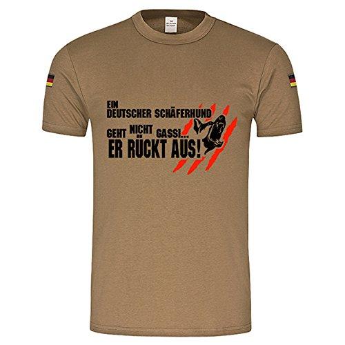 Copytec EIN Deutscher Schäferhund geht Nicht gassi er rückt aus BW Tropenshirt #15036, Größe:M, Farbe:Khaki