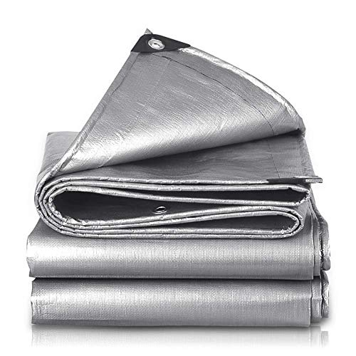 Tarp Poly Tarp Tarpaulin Film with Eyelets, Silver Laminated Coating Waterproof Heavy Duty UV Blocking Rain Awning, 15 Mil Thick, 200g/m² (Size : 5m×5m(16ft×16ft))