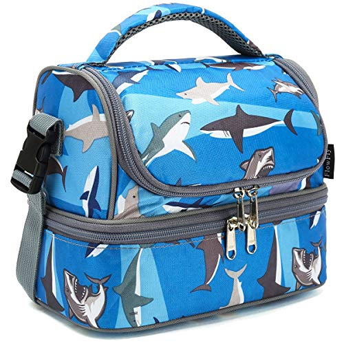 FlowFly Double Decker Cooler Insulated Lunch Bag Kids Lunch Box Large Tote for Boys,Girls,Men,Women, With Adjustable Strap,Shark