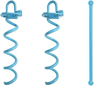 Spiral Ground Anchor, 10 Inch,2 Pack, with Folding Ring for Securing Tents, Canopies, Tarps, Trampoline, Swing Sets, Powder-Coated Solid Steel Earth Auger