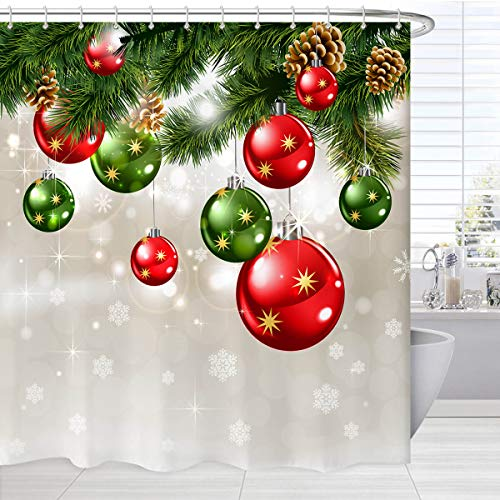 BROSHAN Green Christmas Shower Curtain Set, Merry Xmas Baubles on Pine Tree Twig Art Print Holiday Bath Bathtub Curtain, Christmas Fabric Bathroom Shower Curtains with Hooks