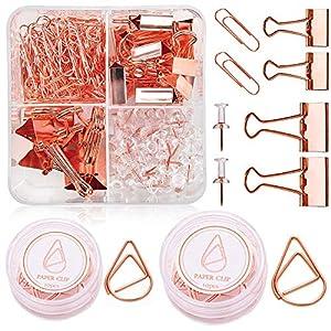 Globaldream Rose Gold Büromaterial, 191 Stück Push-Pins Binder Clips Büroklammern Reißzwecken Mit Transparenten Kunststoffboxen Für Tags Taschen, Geschäfte, Büro und Küche zu Hause