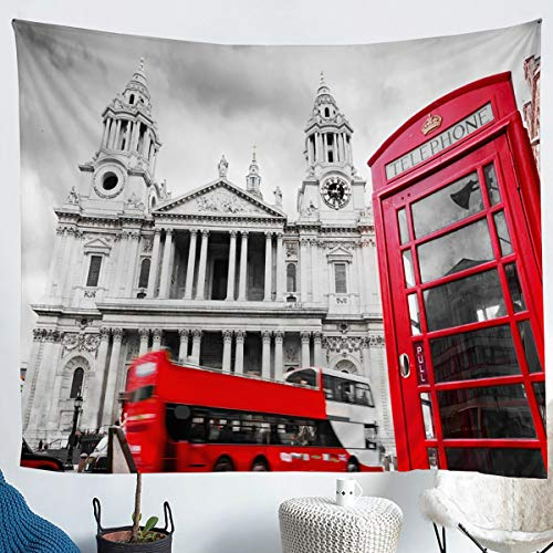 Erosebridal Telephone Booth Tapestry, Red Bus Wall Hangings Cityscape London UK Tapestry for Adult, European Retro Building Wall Tapestry Grey Decor Large 59x82, Stylish Tapestry
