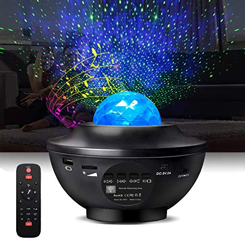 Night Light Projector 3 in 1 Galaxy Projector Star Projector with Bluetooth Speaker, Ocean Wave Bedside Lamp, Adjustable Lightness & Remote Control, Support WiFi Connection Music Player