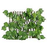 Dysetcs Pantalla de valla artificial expandible decorativa de madera de hiedra sintética, panel de esgrima de privacidad artificial con hojas de una sola cara para decoración del hogar al aire libre