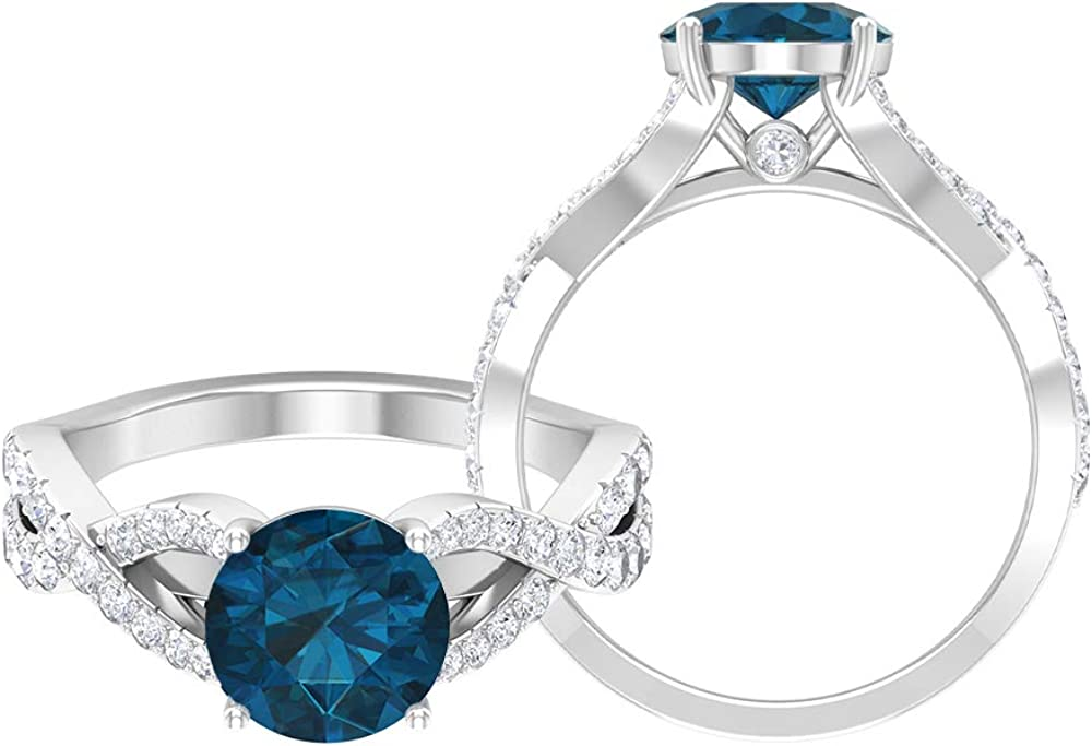 OFFicial store 2.75 CT London Blue Topaz Engagement Ring Accent with Free Shipping Cheap Bargain Gift Moissanite