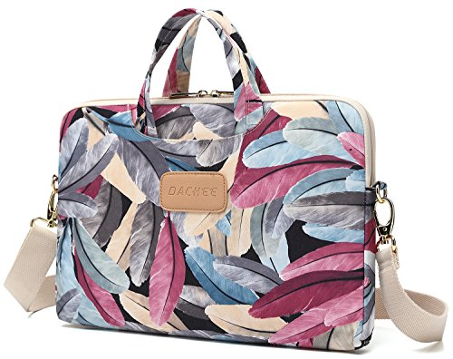 Dachee Colorful Feather Patten Waterproof Laptop Shoulder Messenger Bag Case Sleeve for 14 Inch 15 Inch Laptop Case Laptop Briefcase 15.6 Inch