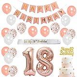 18 ° compleanno Decorazioni in oro rosa per ragazza - Forniture per feste di compleanno con fascia in raso bianco, cake topper, numero 18 palloncini in stagnola, banner di buon compleanno rosa