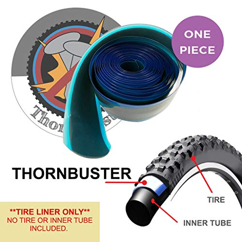 """Thorn Buster, Inner Tube Protecting, Bicycle Tire Liner - Stop Flats for Mountain and Trail Bikes Using Silver 26 x1.5-1.95"""" Bike Tires and Tubes with Hard Durometer Center Strip. (1 Liner)"""