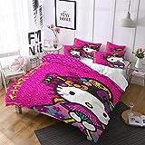 QWAS - Copripiumino Hello Kitty di alta qualità, con copripiumino e federa, idea regalo per bambini, 1,140 x 210 cm + 50 x 75 cm x 2)