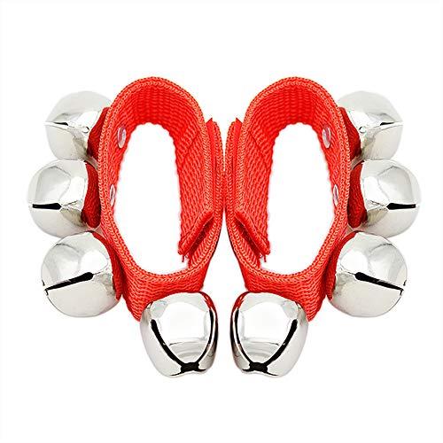 FEIDAjdzf Juguetes para niños y niñas pequeños, 2 piezas, para bebé, mano, pie de muñeca, sonajero, juguete educativo, color rojo
